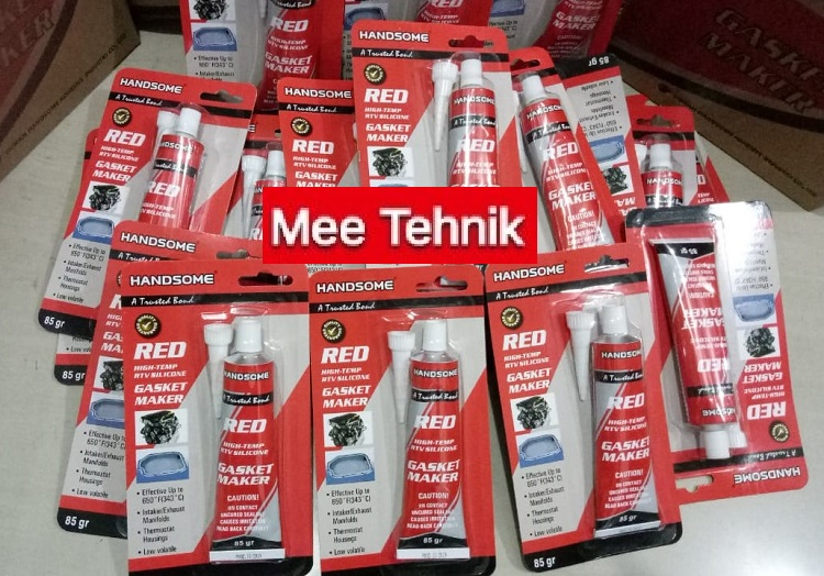LEM RED SILICONE 85 GRAM RED SEALANT TUBE. LEM GASKET RED. TAHAN PANAS